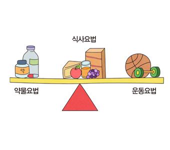 혈당 조절을 위해 식이요법, 운동요법과  약물요법 그림 예시