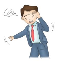 두통과 어지러움을 호소하는 남성