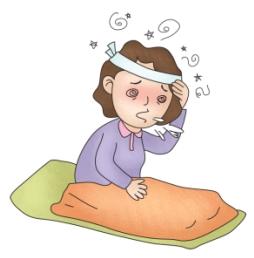 잠에서 일어나 구토증상을 느끼는 여성