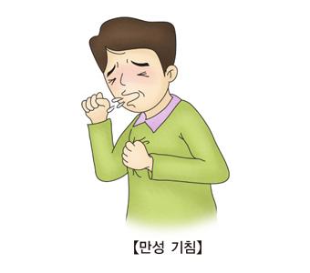 심하게 기침을 하는 남성