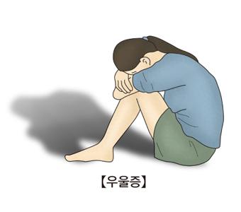 우울증-무릎에 얼굴을 묻고 있는 여성