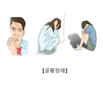 공황장애-손톱을 물어뜯고있는남성,불안장애를 나타내는 여성,우울증으로인해 무릎에 얼굴을 묻고있는 여성