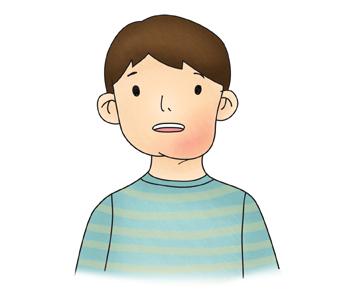 남자아이 턱에 림프관종을 예시한 이미지