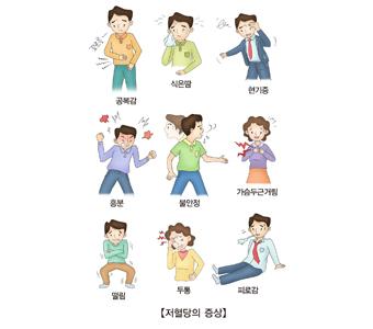 저혈당의증상-공복감,식은땀,현기증,흥분,불안정,가슴두근거림,떨림,두통,피로감