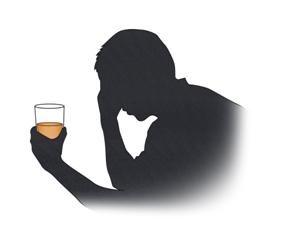 술잔을들고 고민하고있는 남성