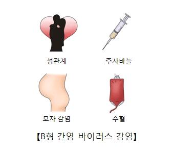 성관계 주사바늘 모자감염 수혈등 B형 간염 바이러스 감염의 예시
