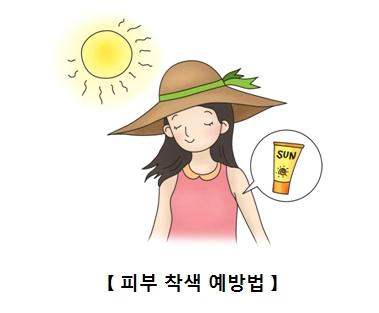 자외선 차단제를 바르고 햇빛노출에도 당당한 여성 피부착색 예방법의 대한 예시