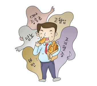 빵을먹고있는남성뒤로 대사증후군,당뇨,비만,고열합,고지혈증의 유령들이 붙어있음