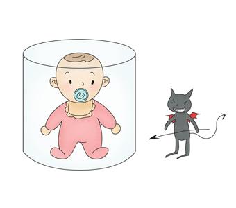 병균으로 부터 보호막에 둘러 쌓여있는 유아