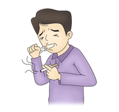 흡현후 기침을 하는 남성