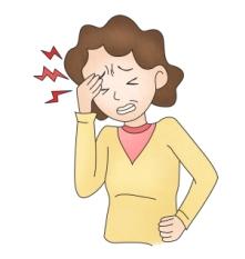 두통으로 괴로워하는 여성