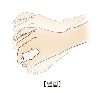 손이 떨리는 모습 예시