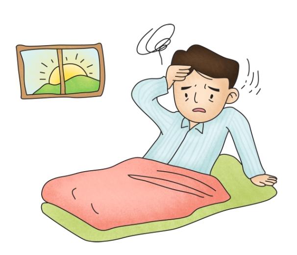 아침에 일어나 어지러움증을 호소하는 남성