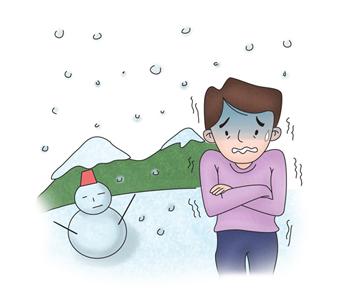 눈오는날 추위에 벌벌 떨구 있는 남성