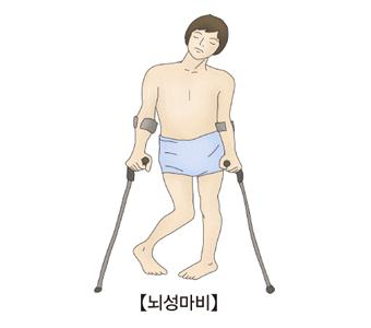 뇌성마비-뇌성마비에 걸려 목발에 의지한 체 서있는 남성