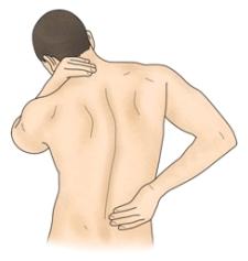 목과허리통증으로 왼손으로는 목을 오른손으론느 허리를 주무르는 남성