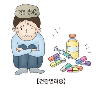 건강 염려증으로 고민하고있는 남성 그옆엔 약과 주사기가 있음