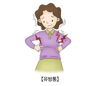 유방통으로 아파하는 여성
