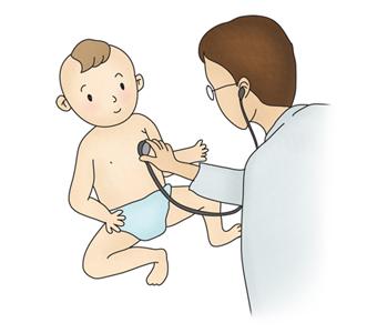 의사가 소아의 가슴에 청진기를 사용하여 진찰하고있음