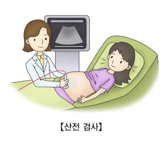 초음파로 산전검사를 받구 있는 임산부