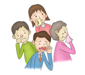 기침및 콧물을 흘리구 있는 남녀노소