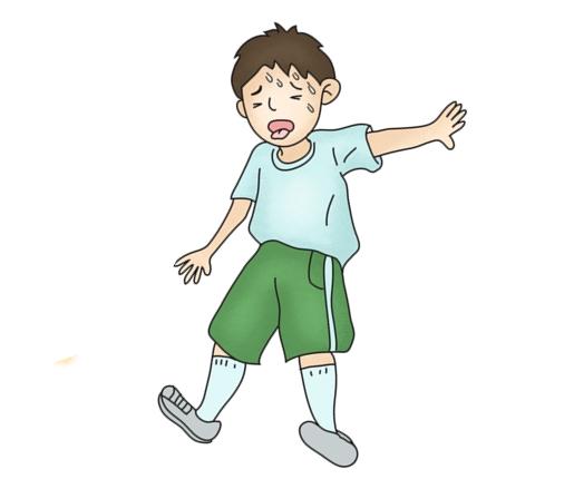 운동후 숨이차 호흡이 가빠지구 있는 남자아이