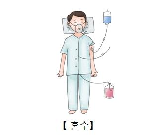 수액과 소변줄을 달고 누어있는 환자