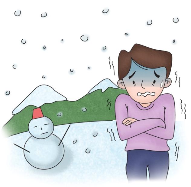 눈오는날 저체온증으로 몸을 떨고 있는 남성