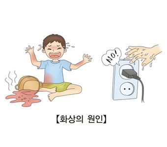 어린아이가 뜨거운 국물을 복부쪽에 흘려 고통스러워 하는 모습과 젖은 손으로 전기콘센트를 만지면 않된다고 강조하는 예시
