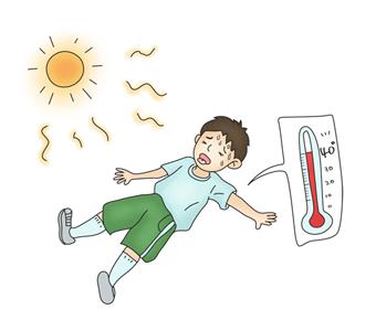 40도 이상 날씨에 쓰러져 있는 남자아이