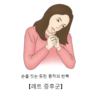 레트증후군-손을씻는듯한 동작을 반복을 하는 여성 그림 예시