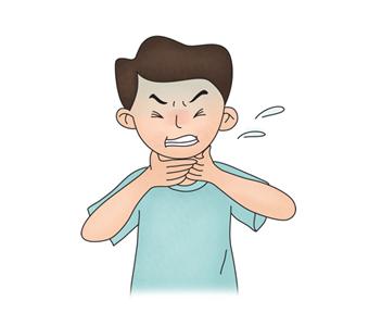 호흡곤란으로 괴로워하는 남성