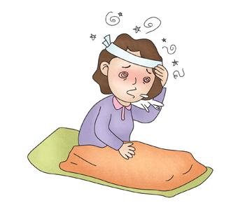 어지러움증을 호소하며 구토를 하는 여성