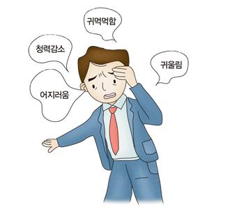 남성이 어지러움 청력감소 귀먹먹함 귀울림의 증상을 호소하고있음