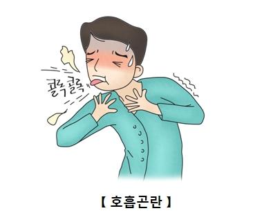 폐농양으로 호흡곤란을 일으켜 기침하는 남성