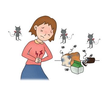 오염된 음식을 앞에서 복통을 호소하는여성 그옆에는 세균들이 웃고있음