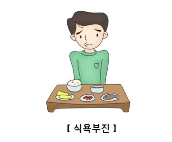밥상앞에서 식욕부진을 보이는 남성