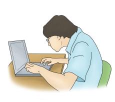 구부정한자세로 노트북을하고있는 남성
