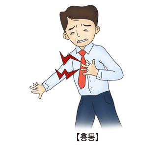 흉통- 가슴에 통증을 느끼며 아파하는 남성