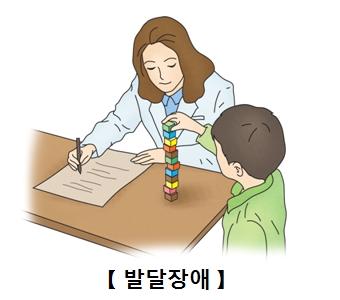 아이는 블럭을 쌓고있고 의사선생님은 아이의 행동을 문서에 적고있음