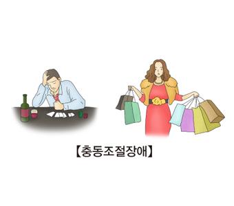 충동조절장애-술과도박에빠진남성(왼쪽),쇼핑중독에빠진여성(오른쪽)