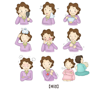 폐경의증상-안면홍조,감전변화,건망증,소외감,요실금,성관계의욕상실,요통,두통,근육통