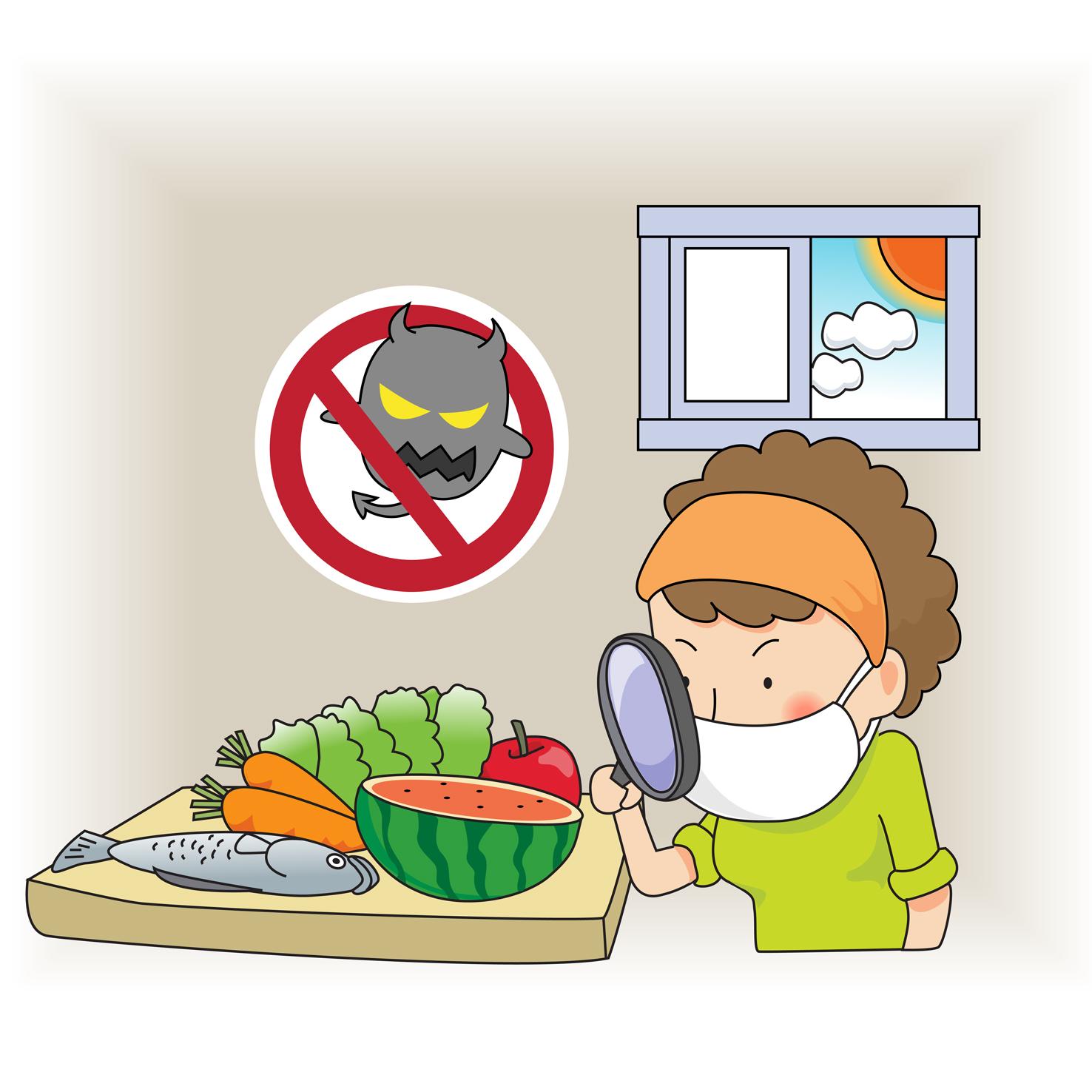 주부가과일과야채에세균이있는지돋보기로검사하고있음