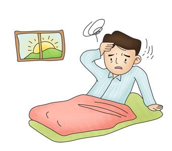 아침 기상후 어지러움증을 느끼는 남성