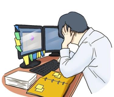 컴퓨터 앞에서 직장 스트레스를 받고 있는 남성