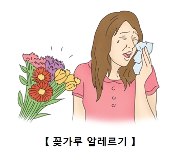 꽃가루알레르기로괴로워하는여성