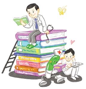 각종 책을 보고 있는 의사와 환자들