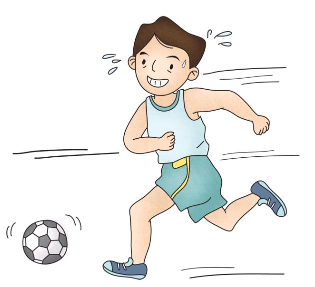 축구를 하고있는 남자아이