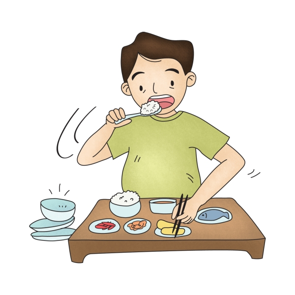 다양한 음식들로 식사를 하는 남성