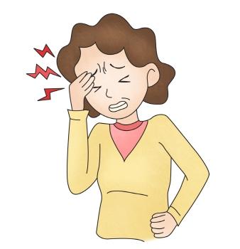 두통을 느끼는 여자의 모습